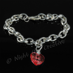 Silver Plated Single Heart Charm Bracelet - Red