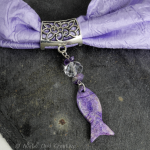 Hand-crafted Scarf Ring. Pendant Slider, Purple Fish, Soapstone, Amethyst Quartz Crystal Beaded