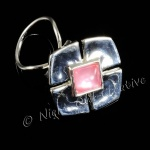 Scarf Clip - Silver Tone with Pink Jewel