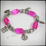 Antique Silvertone Beaded Stretch Charm Bracelet Hot Pink