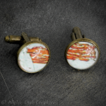 Cuff Links, Antique Bronze and Glass, One-of-a-Kind